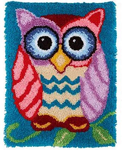 Große Knüpfset Teppich Erwachsene, Knüpfset Knüpfpackung zum Selber Knüpfen Teppich Latch Hook Kit Child Rug DIY Handarbeit Selbst Knüpfen Set,Owl,85x58cm/33x23 inch
