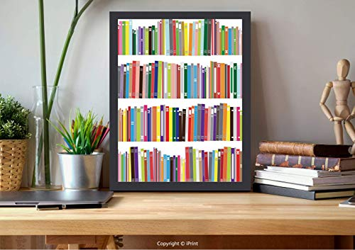 AmorFash №07934 Frame Art Wall,Bookshelf, Doodle Drawing of Colorful Books Learning Library School Themed Illustration, Multicolor, Best for Gifts