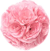 Ben Collection 10 Pack of Fabric Artificial Flowers Silk Rose Pomander Wedding Party Home Decoration Kissing Ball Trendy Color Simulation Flower (Pink, 25cm)