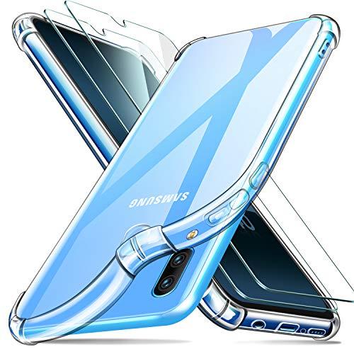 ivencase Funda Compatible con Samsung Galaxy A40 y 2 Pack Cristal Templado, Ultra Fina Silicona TransparenteTPU Carcasa Protector Airbag Anti-Choque Anti-arañazos Case Cover