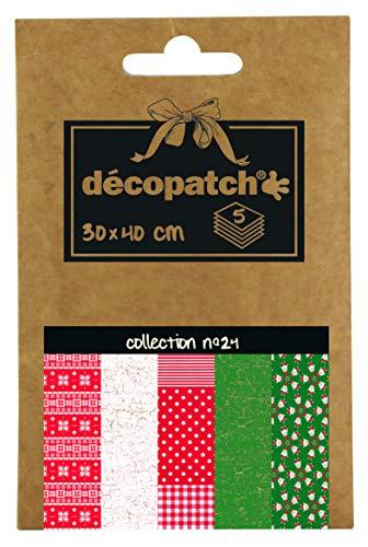 Décopatch DP024C – eine Tasche mit 5 Blatt bedrucktes Papier, 30 x 40 cm, Verschiedene Motive (Referenznummern 672-444-484-445 und 829)
