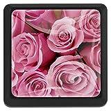 Quadratische Schrankknöpfe mit Vogel-Motiv, 3 Stück, Best Pink Rose Tapete, 3.5 × 2.8cm / 1.38 × 1.1in