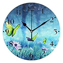 HANZHY Fairy Butterfly Wall Clock Hanging Quiet Non-Ticking Battery Operated Decorative Modern Round Wall Clock for Living Room Bedroom Kitchen Office
