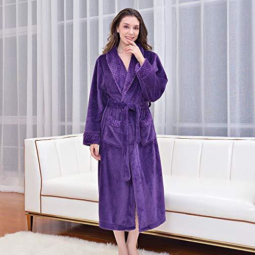 KTUCN Invierno Espesar cálido Mujeres Hombres Kimono Bata, Parejas Franela Albornoz camisón Bata de baño Bata, Mujeres moradas, XL