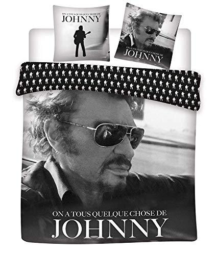 Johnny HALLYDAY - Housse de Couette + 2 Taies - Parure de lit 2personnes - 100% Coton