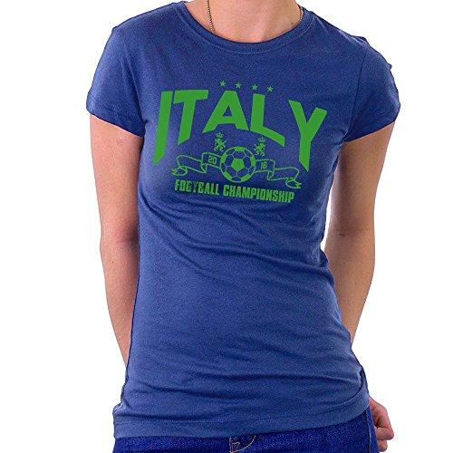 Euro 2016 Football Italy Italia Stars Blue Women's T-Shirt