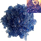 Firebrand Direct Blue Fire Glass 1kg (2.2lb) - For Fire Pits, Gas Fires And Ethanol Burners. Sparkling Heat Resistant Glass
