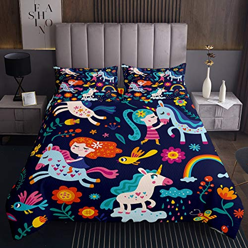Tbrand Colorful Unicorn Pattern Decor Bedspread Navy Blue Coverlet Set 2pcs for Kids Girls Boys Teens Soft Microfiber Quilted Coverlet Polyester Quilt Set (1 Bedspread + 1 Pillow Case) Twin Size