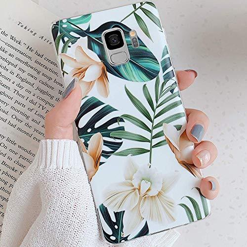 Uposao Fleur Feuilles Coque pour Samsung Galaxy S9 Matte Coque en Silicone TPU Cover,Galaxy S9 Jolie Fleur Housse Téléphone Etui Ultra Mince Souple Gel Bumper Case pour Galaxy S9,A