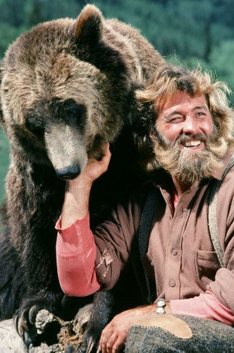 Dan Haggerty in The Life and Times of Grizzly Adams With Bear Smiling 11x17 Mini Poster