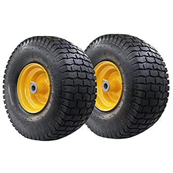 NUWEISHI 15x6.00 6 Front Tire Assembly Replacement for John Deere Riding Mowers 100 and 300 Series,John Deere Lawn Mower Tractor Trailer Tires Wheels  2 Pack