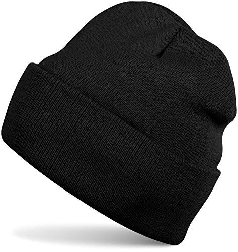styleBREAKER Klassische Beanie Strickmütze, warme Feinstrick Mütze doppelt gestrickt, Unisex 04024029, Farbe:Schwarz