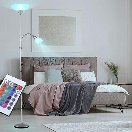 LED Decken Fluter Steh Lampe Leuchte Beleuchtung Flexo-Lesespot Strahler inkl. RGB Fernbedienung DIMMBAR
