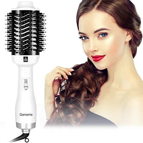 Damenie Ionen-Haartrockner Warmluftbürste, Heißluftbürste Multifunktion 5 in 1 Stylingbürste Fönbürste Elektrisch Rundbürste mit Fön Hairstyle Hair Dryer Haarglätter für Alle Styling(Weiß Schwarz)