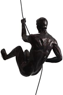 XDH-RTS Nude Climbing Man Statue Resin Iron Wire Home Wall Hanging Decorate Human Body Sculpture Creative Art Gift