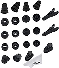 ALXCD Replacement Ear Tips & Clips for In-Ear Earphone, S/M/L Sizes & Double/Triple Flange 9 Pairs Silicone Replacement Earbud Tips Eartips Adapter & 4 Pcs Long/Short Earphone Wire Clip (Black 18+4)