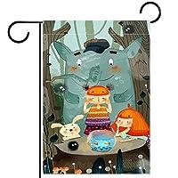 春夏両面フローラルガーデンフラッグウェルカムガーデンフラッグ(28x40inch)庭の装飾のため,漫画の森の動物