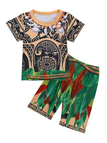 CHICTRY Pijama Niños Niñas Conjunto Verano Divertido Disfraces Maui Vaianas Bebes Niños Camiseta Pantalon Ropa de Dormir Algodón Sauve Regalo Fiesta Manga Corta 4-5Años