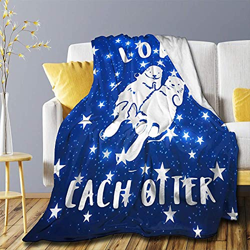 Love Each Otter Blanket Flannel Ultra Throw Soft Lightweight Luxury Air Conditioner Quilt for Sofa Bedroom Office All Season - Medium 60x50in for Teens