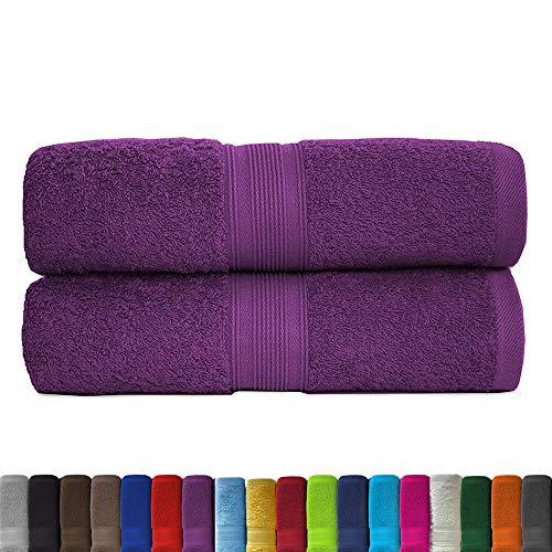 leevitex® 2er Pack Frottier XXL Saunatücher Set 80x200cm - Saunatuch, Sauna-Handtuch, Qualität 500 g/m² - 100% Baumwolle in vielen modernen Farben (Lila/Pflaume)
