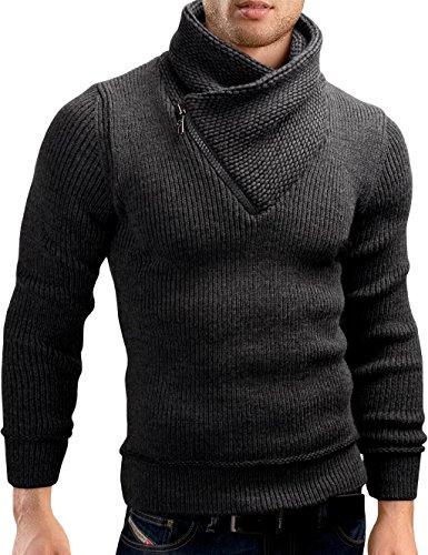Grin&Bear Coup Slim Sweat Shirt Fermeture Eclair tricoté Veste Homme, Anthracite, S, GEC564