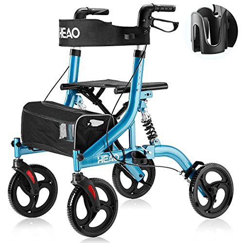 HEAO Rollator Walker with Seat for Seniors,4 x 10' Wheels Walker with Shock Absorber Lightweight Mobility Walking Aid with Handle to Stand up,Blue