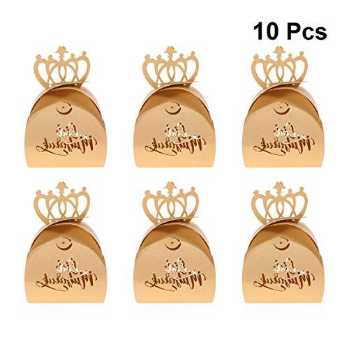 Amosfun Eid Mubarak Favor Box Hollow out Papier Snoep Doos Glanzend Kroon Ontwerp Chocolade Geschenkdoos voor Moslim Ramadan Festival Party 10 stks (Kraft)