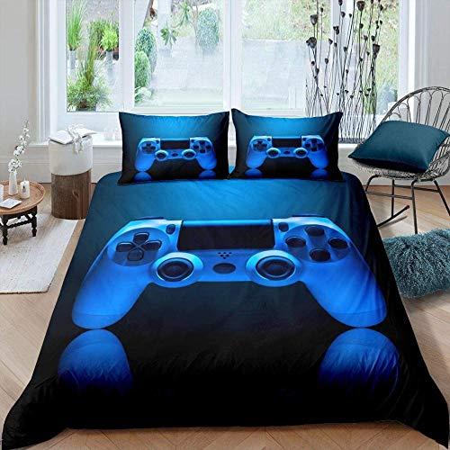 Copripiumino Matrimoniale 240x260 cm Gamepad blu Morbida Traspirante Microfibra Set copripiumino con Chiusura a Cerniera e 2 Federe 50x80 cm
