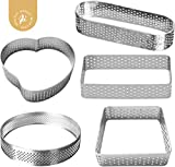 AICHEF Round Stainless Steel Perforated Air Permeable Tarting Ring Tower Ring Bottom Tower Pie Cake Mold Baking Tools.French Baking Household Pressure Tower Belt Hole Breathable Tart Ring.