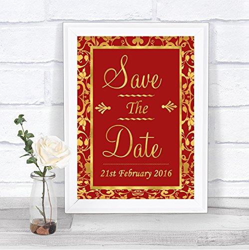 Rood en Goud Bewaar de datum Gepersonaliseerde Wedding Sign Print Framed Oak Small Goud