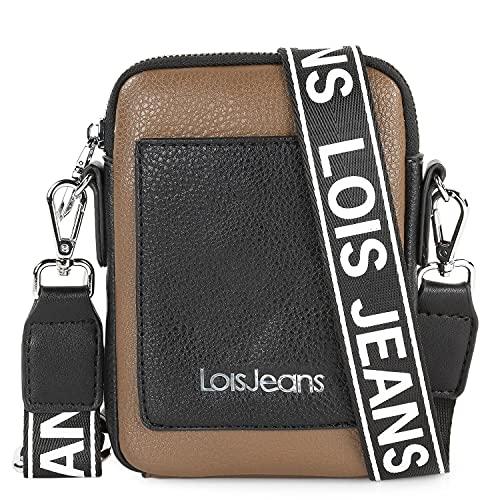 Lois - Minibolso para Móvil Mujer. Bolso para Móvil Teléfono de Marca Original. Diseñado en España. 307121, Color Taupe-Negro