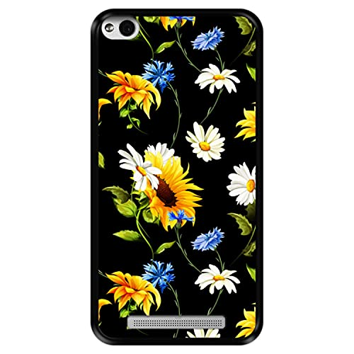 Hapdey Funda Negra para [ Xiaomi Redmi 3s ] diseño [ Patrón Floral, Flores Multicolores 2 ] Carcasa Silicona Flexible TPU