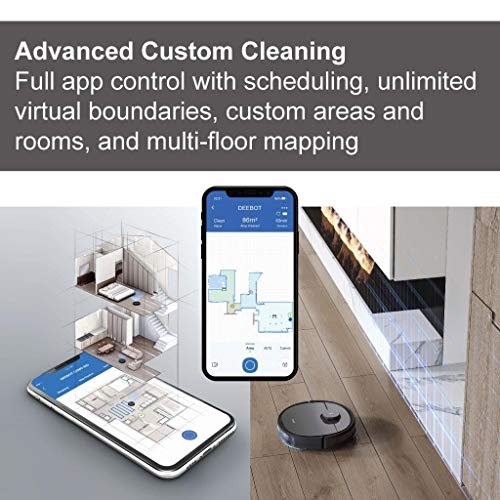 ECOVACS DEEBOT OZMO T5 2in1 Robot Vacuum and Mop Cleaner with Precise Laser Navigation and Multi-Floor Mapping Full Custom Cleaning, No-Go Zones, 3+ Hours of Runtime, App Control, Black