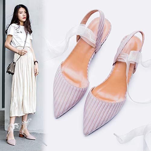 Shukun Dames sandalen Baotou Sandalen Vrouwelijke Fee Wind Punt Met Dikke Met Lint Persoonlijkheid Zachte Romeinse Schoenen Zomer