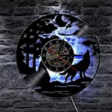 Cheemy Joint Wilder Wolf Vinyl-Wanduhr LED 12-Zoll-Schallplatte, Handmade Wohnkultur 7-Farben Uhr Nachtlicht, Geschenk für Geburtstag und Weihnachten.