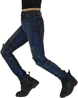 YooSz Los Pantalones Vaqueros, Pantalones De Moto Retro De Las Mujeres Delgadas De La Motocicleta, Montar Los Pantalones V...