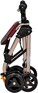 Walking Aids 4 Wheels Portable Foldable, Medical Rolling Walker Double Brake System, Used for Seniors Walking,Red