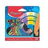Pack 6 tizas de colores Maped 936010 para suelo 13x10cm