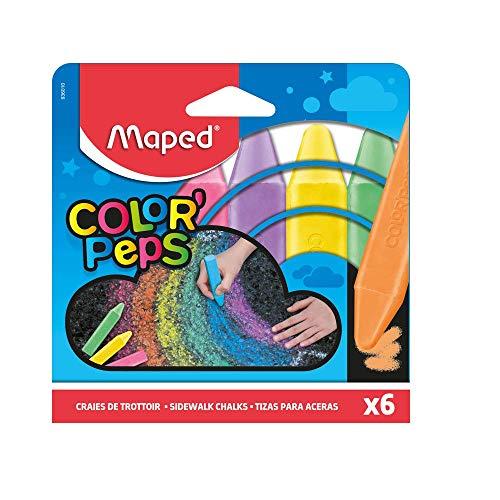 Maped Color'Peps Grosses Craies de Trottoir pour Enfant, Facile à Nettoyer - Etui de 6 Craies de...