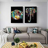 落書き抽象的なカラフルな象猿キャンバスプリント絵画動物壁の写真リビングルーム家の装飾ポスター50x70cmx2フレームレス