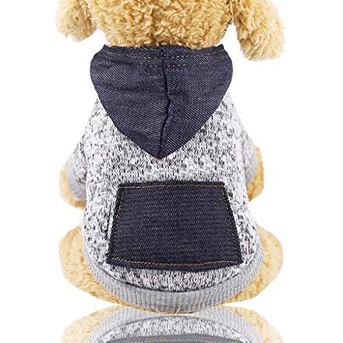 Hoodie Pet Cucciolo di Cane Gatto Camicia Vestiti Cappotto con Cappuccio Maglione Costumi Fiocco di Neve (XS,2- Grigio)