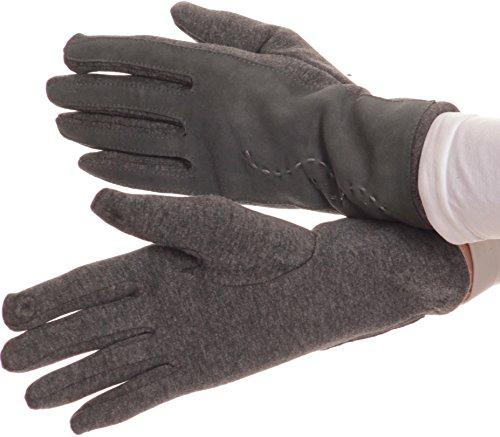 Sakkas 16164 - Pelle Lidy ricamati comodo Touch Screen da neve calda i guanti - Grigio - S/M