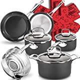dealz frenzy Induction Cookware Set, Non-Stick Pots and Pans Set with Cool Handles, Scratch Resistance Kitchenware Sets, Dishwasher Oven Safe, Father's Day Gift, Black Ceramic 15-Piece
