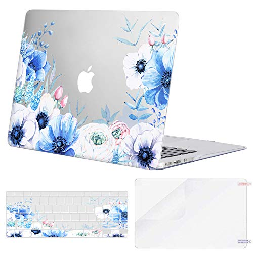 MOSISO MacBook Air 13 inch Case (A1369 & A1466, Older Version 2010-2017 Release), Plastic Myosotis Hard Shell Case&Keyboard Cover&Screen Protector Only Compatible with MacBook Air 13 inch, Transparent