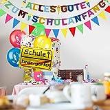 iZoeL Einschulung Deko Schulanfang Schuleinführung Girlande Alles Gute Zum Schulanfang + 40m Wimpelkette + 15 Luftballon + Konfetti + Folienballon für Junge Mädchen - 7