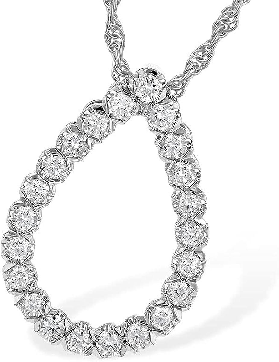 14K Max 67% OFF Max 77% OFF White Gold Diamond Teardrop Kau Necklace Outline Allison