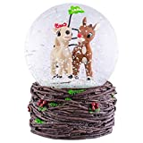 Rudolph and Clarice Holiday Forest 6 x 4 Resin Holiday Snow Globe Dome