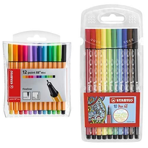 Fineliner - STABILO point 88 Mini - 12er Pack - mit 12 verschiedenen Farben und Premium-Filzstift - STABILO Pen 68 - 10er Pack - mit 10 verschiedenen Farben
