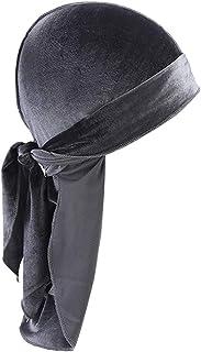 Lovoski Unisex Adults Soft Breathable Bandana Hat Velvet Durag Long Headwrap Long Tail Chemo Cap