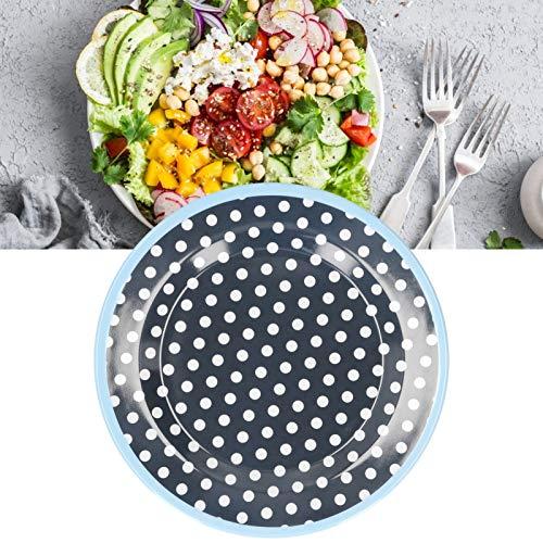 Nunafey Plato de Comida, Plato de Ensalada de vajilla para Sala de Descanso para Dormitorio para Sala de Estar para Cocina(Dark Blue Dots)
